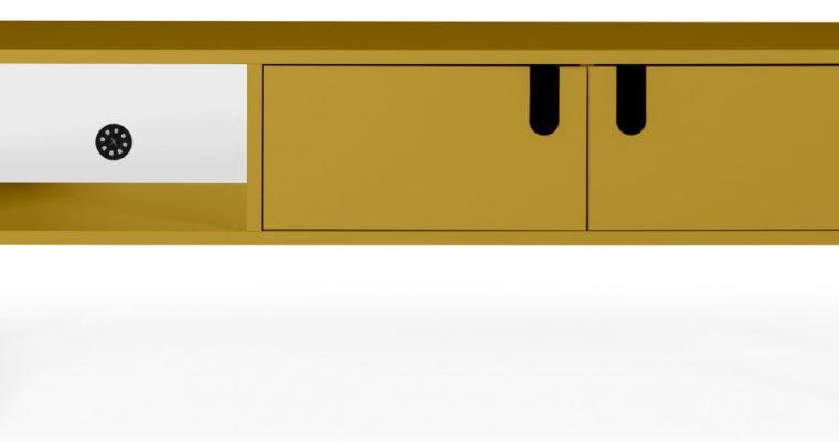 Tenzo UNO TV-meubel 2-Deurs – 1-Vak – 137x40x50 – Mosterdgeel |