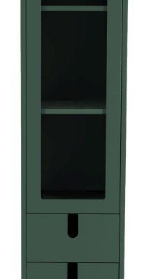 Tenzo UNO Vitrinekast – 1-Deur/2-laden – 40x40x178 – Bosgroen | 8720143246005