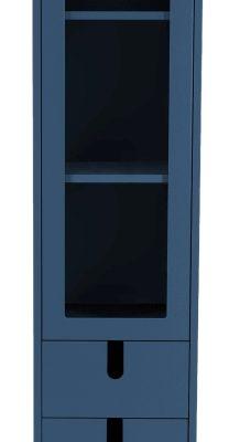 Tenzo UNO Vitrinekast – 1-Deur/2-laden – 40x40x178 – Petrol Blauw | 8720143245985