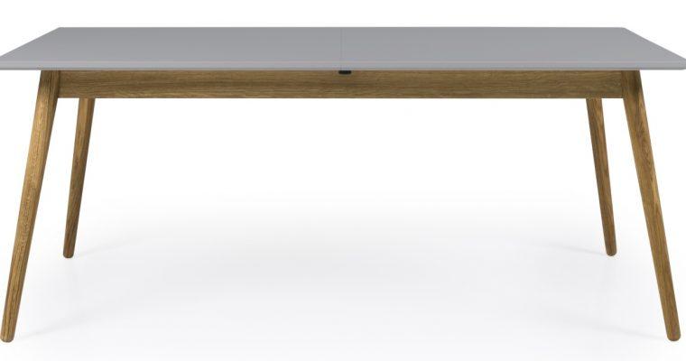 Tenzo Verlengbare Tafel Dot 160/205x90x75 – Grijs Houten Tafelblad – Eiken Poten   8720143247453