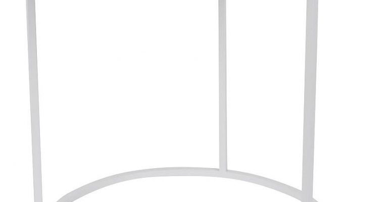 Zuiver Glazed BijzettafelØ40 Cm – Wit Keramiek Tafelblad – Wit Metalen Frame   8718548040137