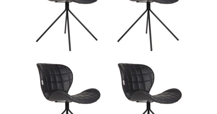 Zuiver OMG LL Stoelen Zwart – Kunstleer – Set Van 4 Aanbieding – NU Met Gratis Vloerdoppen | 8719874340083