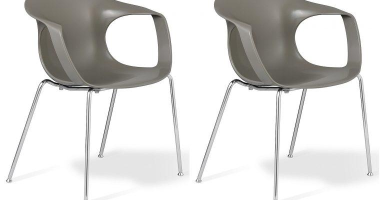 24Designs Brescia Stapelbare Stoel – Set Van 2 – Zitting Grijs – Chromen Onderstel   8720143243127