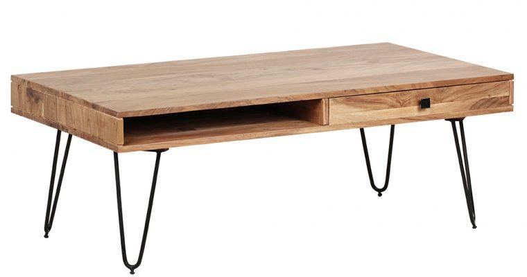 24Designs Bryson Salontafel Met Laden – L120xB60xH43 Cm – Massief Acacia Hout – Zwarte Metalen Poten | 8720143246586