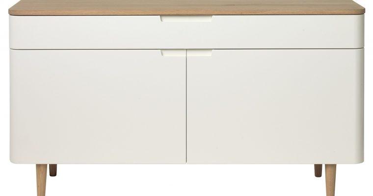 24Designs Dressoir Grindsted 2 Deurs/1 Lade – 140x45x76 – Wit – Eiken White Wash | 8719874349598