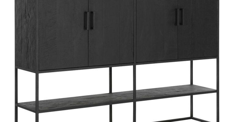 24Designs Timeless Opbergkast Large Beam – B180 X D40 X H140 Cm – Teakhout Zwart   8720195958697
