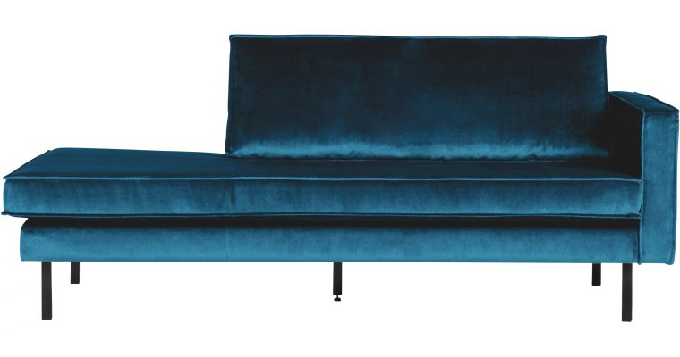 BePureHome Daybed 'Rodeo' Rechts, Velvet, kleur Blauw | 8714713073443
