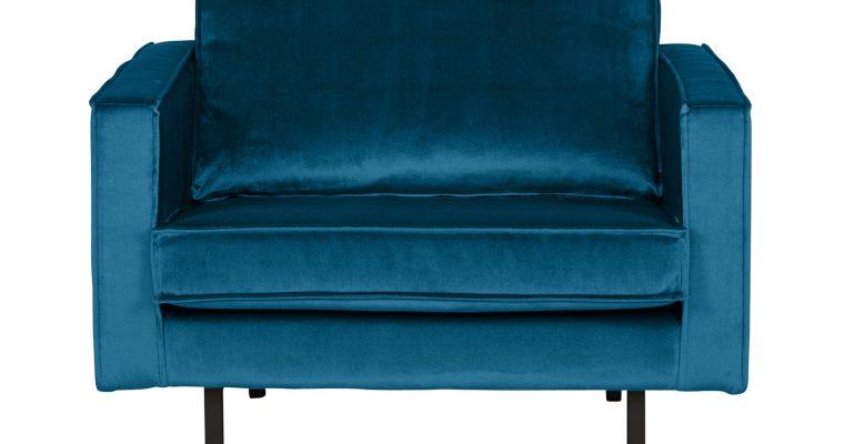 BePureHome Fauteuil 'Rodeo' Velvet, kleur Blauw | 8714713065240