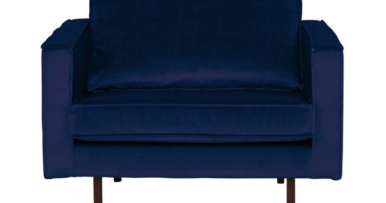 BePureHome Fauteuil 'Rodeo' Velvet, kleur Donkerblauw | 8714713065219