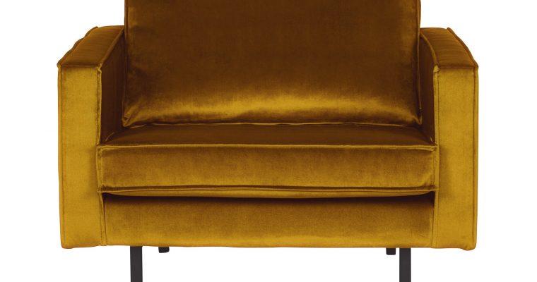 BePureHome Fauteuil 'Rodeo' Velvet, kleur Oker | 8714713065226
