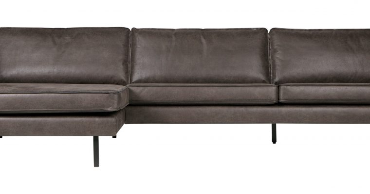 BePureHome Loungebank 'Rodeo' Links, Eco Leder, kleur Zwart | 8714713083121