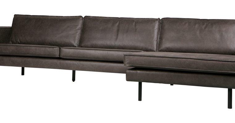 BePureHome Loungebank 'Rodeo' Rechts, Eco Leder, kleur Zwart | 8714713082933