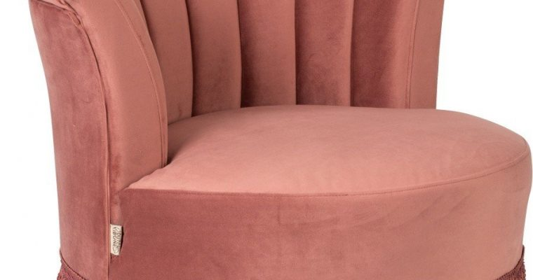 Dutchbone Flair Fauteuil – Roze Fluweel – Donkere Houten Poten | 8718548035515