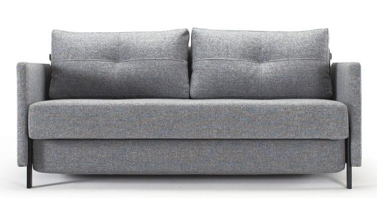 Innovation Slaapbank Cubed 140 Armleuningen – Twist 565 Grijs – Zwart Metalen Poten | 8720143240140
