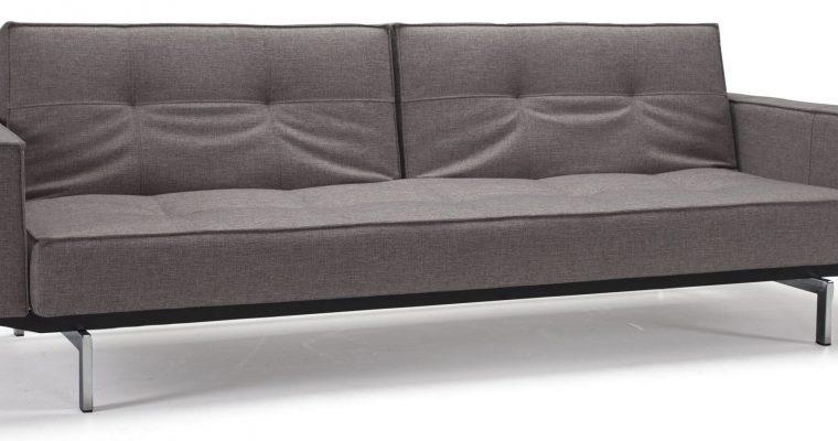 Innovation Slaapbank Splitback Armleuning – Mixed Dance 521 Grijs – Chromen Poten | 8720143240997