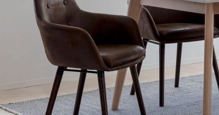 Interstil Eetkamerstoel 'Johannesburg' lederlook, kleur bruin | 5706553412493