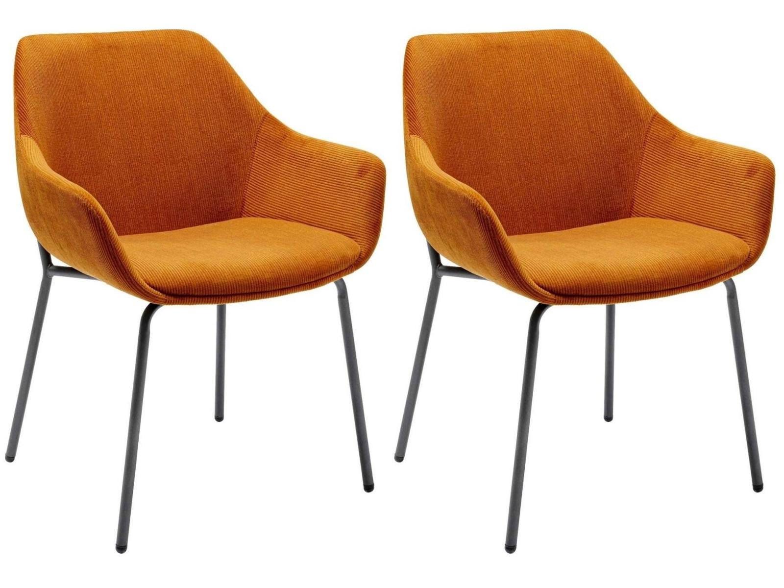 Kare Design Avignon Eetkamerstoel Armleuningen – Set Van 2 – Oranje Velours Ribstof – Zwart Metalen Poten | 4025621800200