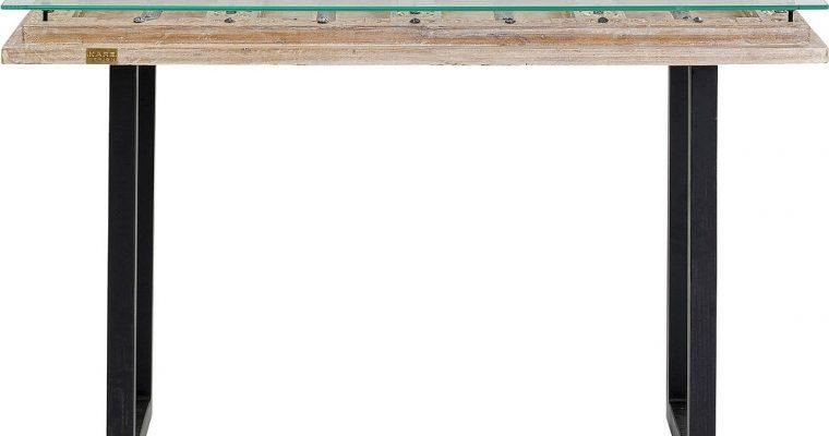 Kare Design – Kalif Sidetable – L120 X B45 X H80 Cm – Hout Met Glazen Tafelblad | 4025621848844