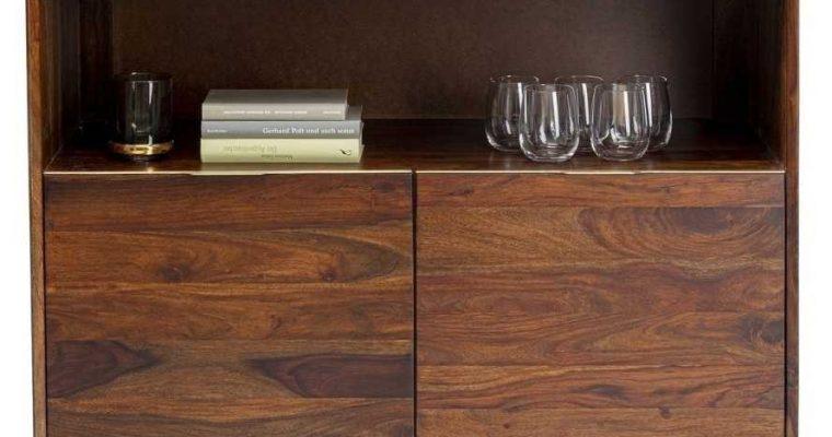 Kare Design Ravello Barkast/Wijnkast – B100 X D45 X H140 Cm – Sheeshamhout – Zwarte Metalen Poten | 4025621851394