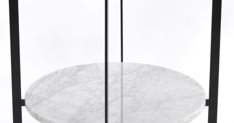 OxDenmarq Bijzettafel Deck – Zwart Frame – Bruin Tafelblad Met Leer – Wit Marmeren Plaat  