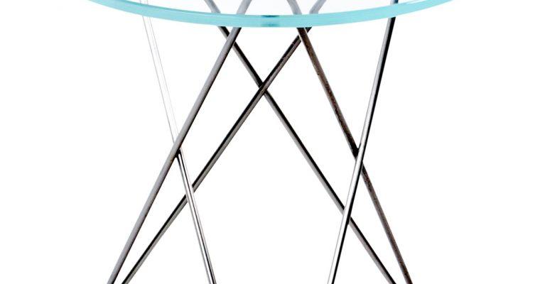 OxDenmarq Bijzettafel Tall Mini O – H50 XØ50 Cm – RVS Onderstel – Glazen Tafelblad  