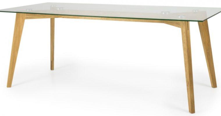 Tenzo Eettafel Dine 200x90x75.5 – Glazen Tafelblad – Eiken Poten | 7394084076000