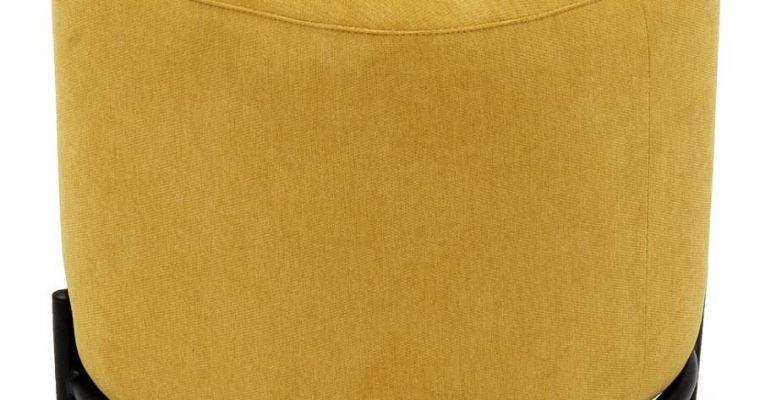 Tenzo Harry Poef – Stof Geel – B42 X D42 X H46 Cm – Zwarte Metalen Poten | 7394084082711