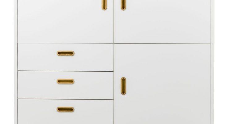Tenzo Opbergkast Bess – L114 X B43 X H120 Cm – Wit – Eiken Poten | 8720195955306