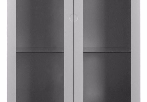 Tenzo Vitrinekast Dot 2-Deurs/2-Laden 79x43x178.5 – Grijs – Eiken Poten | 7394084072347