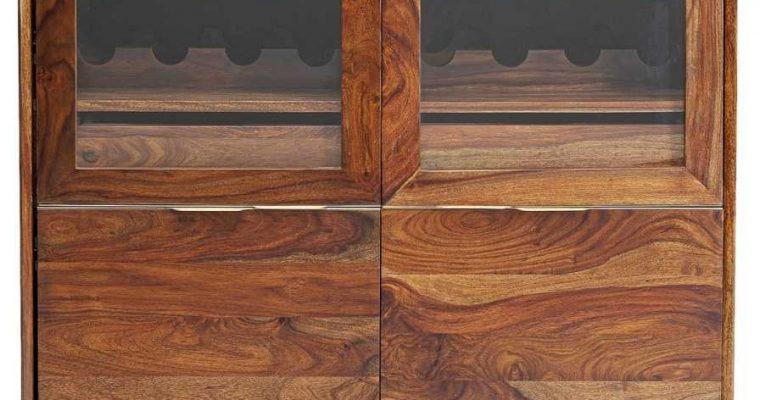 Kare Design Ravello Vitrinekast – B100 X D45 X H140 Cm – Sheeshamhout – Zwarte Metalen Poten | 4025621851387