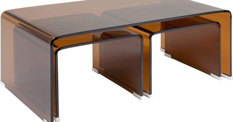 Kare Design Visible Amber Salontafel – Set Van 3 – B120 X D60 X H40 Cm – Glas | 4025621849919