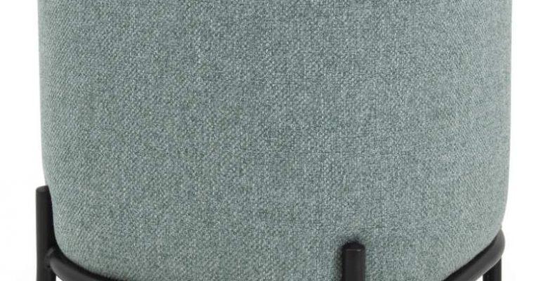 Tenzo Harry Poef – Stof Saliegroen – B42 X D42 X H46 Cm – Zwarte Metalen Poten | 8720289851880