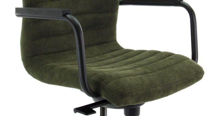 24Designs Bergamo Bureaustoel – Stof Groen – Zwarte Kunststof Kruispoot   8720289853174