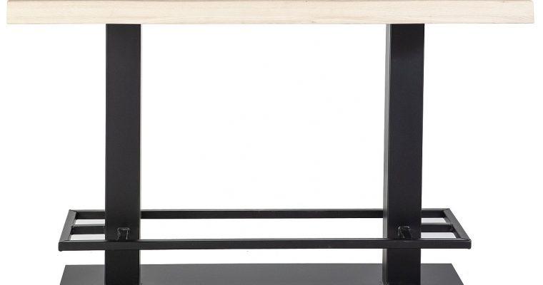 24Designs Luke Countertafel – 140x80x94 – Tafelblad Eikenhout – Zwart Metalen Onderstel | 8720143247439