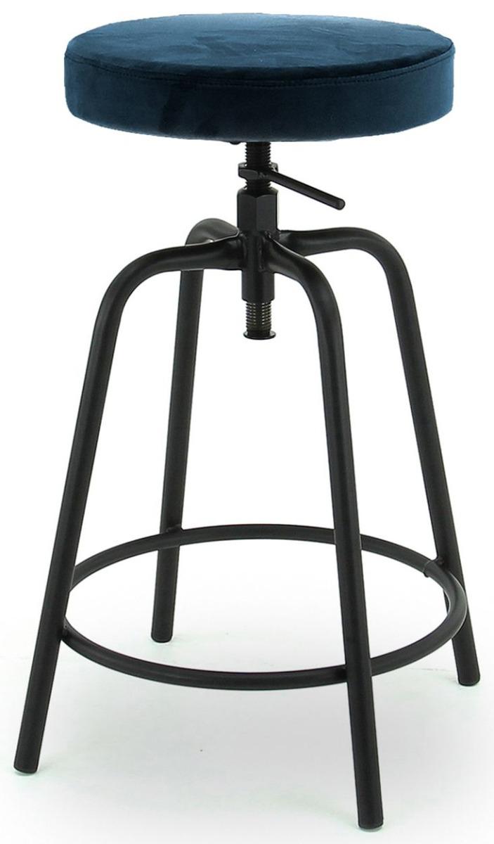 24Designs Rexley In Hoogte Verstelbare Kruk – Donkerblauw Fluweel – Zwart Metalen Frame | 8720195951964