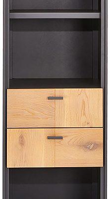 24Designs Sentosa Boekenkast – B52 X D43 X H168 Cm – Massief Eikenhout – Grijs | 8720195956990