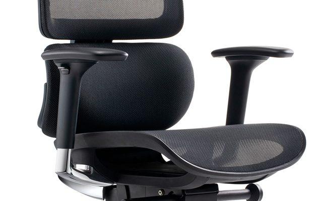 24Designs Sigma Synchro-4 Ergonomische Bureaustoel Hoofdsteun – Zwarte Stof/Mesh – Chromen Onderstel   8720289853402