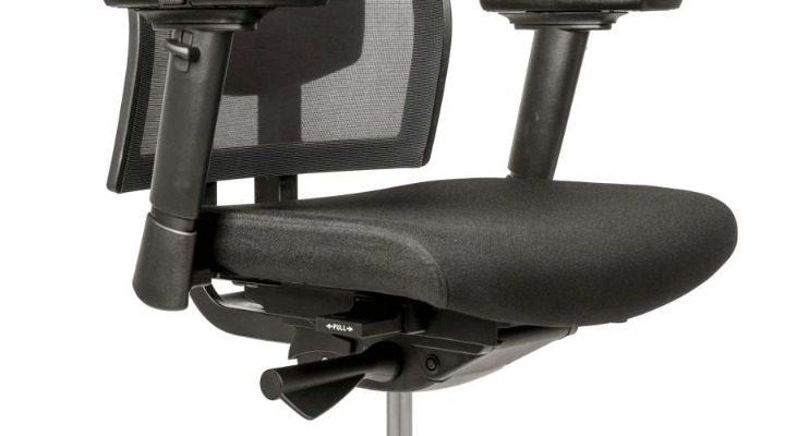 24Designs Stattford Ergonomische Bureaustoel EN1335 – Stof/Mesh Zwart – Aluminium Onderstel | 8719323474703