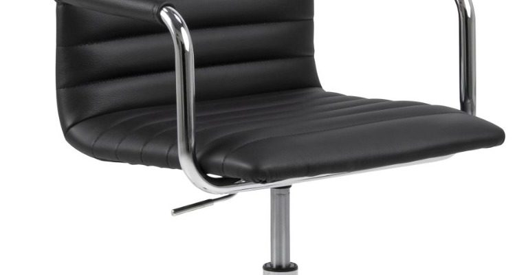 24Designs Winston Bureaustoel – Zwart Leer – Chromen Metalen Kruispoot Met Wielen   8720289852368
