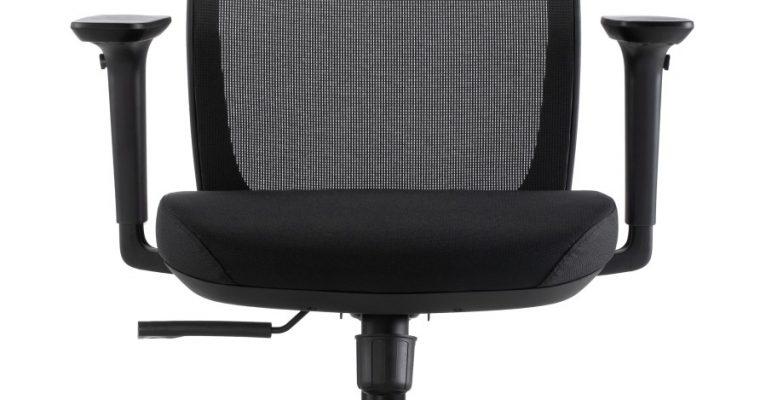 24Designs Work ECO-1 Bureaustoel – Zwarte Stof/Mesh – Zwarte Kruispoot Met Wielen   8720289852139