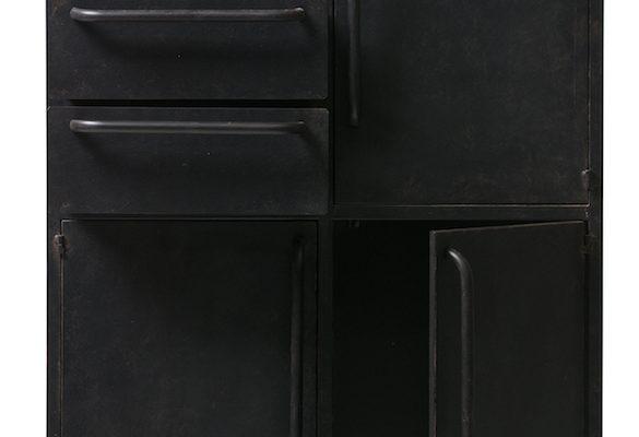 BePureHome Black Beauty Kast Op Wielen – H144 X B75 X D39 Cm – Metaal – Zwart | 8714713080083