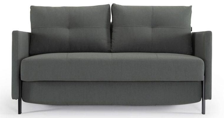 Innovation Slaapbank Cubed 160 Armleuningen – Elegance Green 518 – Zwart Metalen Poten | 8720143240157
