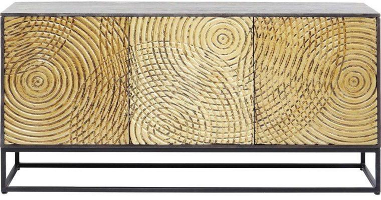 Kare Design Circulo Dressoir – B160 X D40 X H80 Cm – Hout – Zwart Metalen Onderstel | 4025621838364