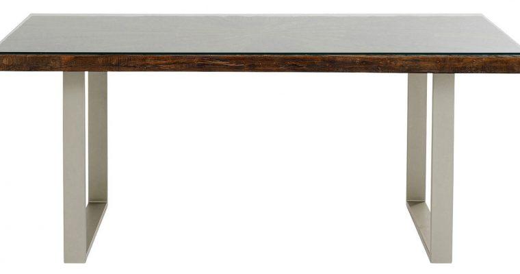 Kare Design Conley Eettafel L180 X B90 X H76 Cm – Tafelblad Hout – Zilveren Metalen Poten | 4025621849339