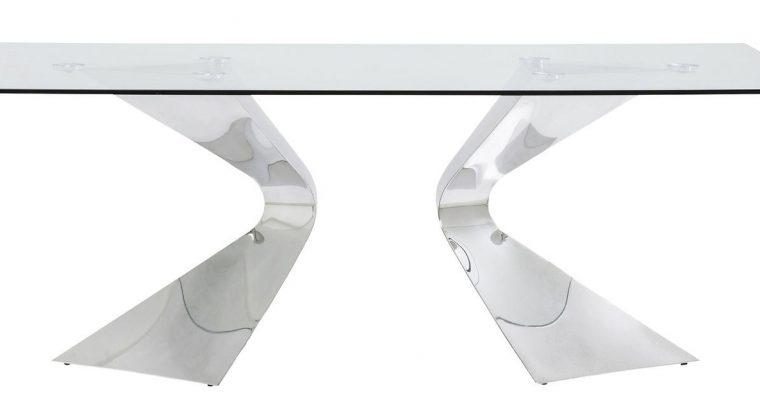 Kare Design Gloria Eettafel – 200 X 100 X 75 Cm – Glazen Tafelblad – Chromen Metalen Poten   4025621819240