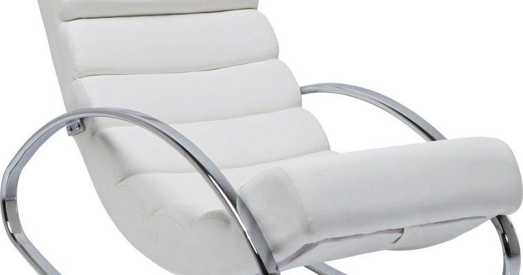 Kare Design Schommelstoel Manhattan – Wit Kunstleer – Chromen Onderstel | 4025621792734