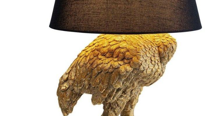 Kare Design Struisvogel Vloerlamp/Tafellamp – Hoogte 69 Cm – Goudkleurig | 4025621522980