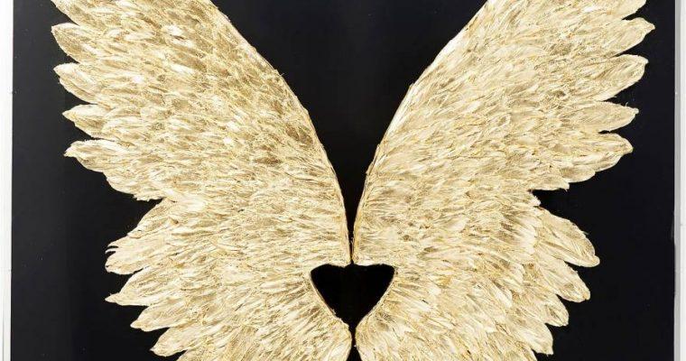 Kare Design Wings Gold Black Wanddecoratie – B120 X D8 X H120 Cm – Goudkleurig Met Zwarte Lijst | 4025621614692