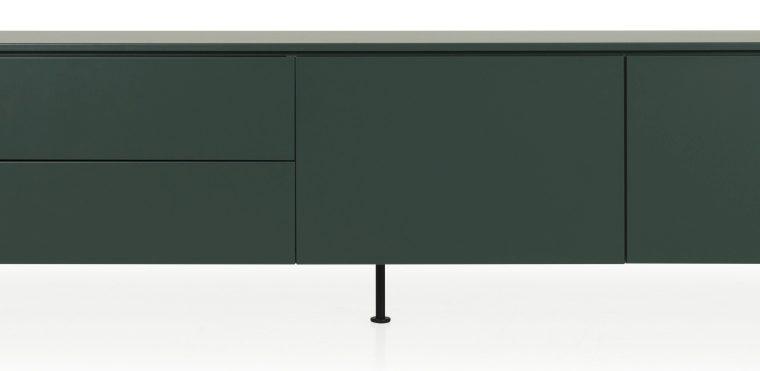 Tenzo Dressoir Plain 2-Deurs/2-Laden – B210 X D45 X H57 Cm – Mat Groen/Grijs |