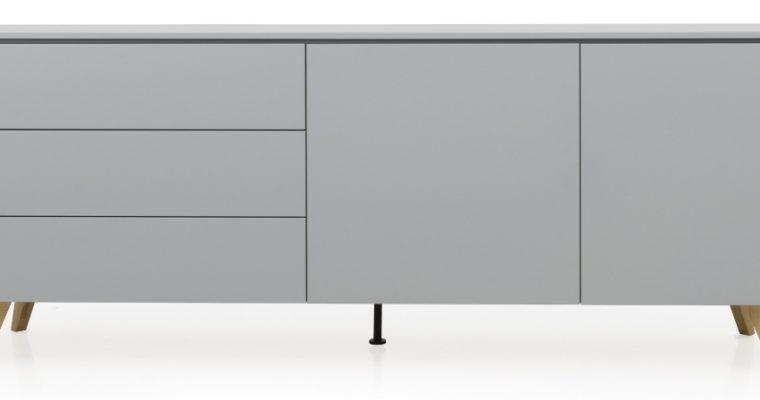 Tenzo Dressoir Plain 2-Deurs/3-Laden – B210 X D43 X H76 Cm – Grijs Met Eiken   8720289851927